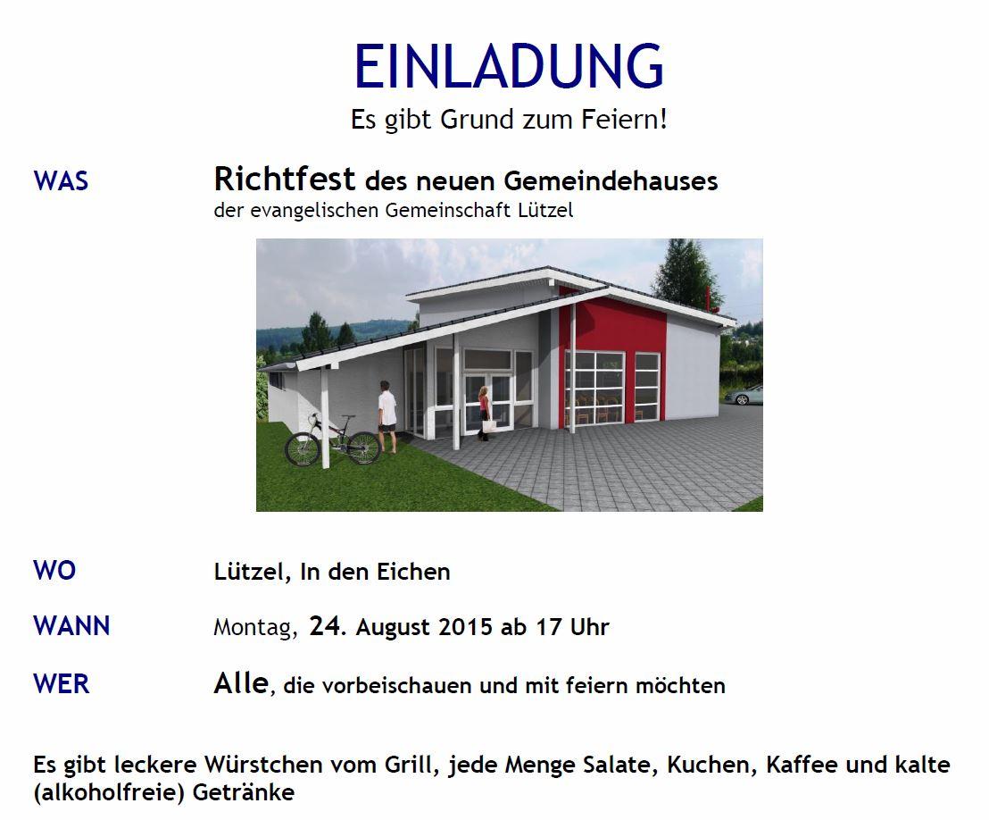 richtfest des neuen gemeindehauses ! – evangelische gemeinschaft, Einladung